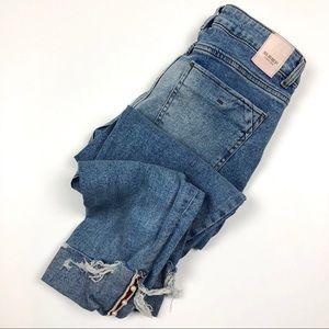 Zara | Z1975 Denim Roll Up Pearl Hem Skinny Jeans